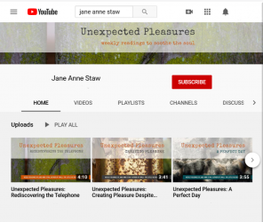 Screenshot of Jane Anne Staw's YouTube channel index page